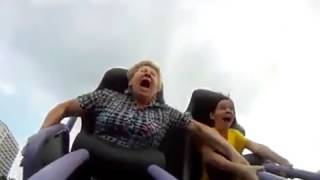 Дочка затащила маму на американские горки