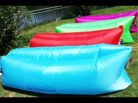 tips to easily use the air inflatable hangout sofa sleeping bag beach lounge youtube. Black Bedroom Furniture Sets. Home Design Ideas