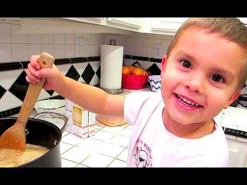 3 YEAR OLD COOKS DINNER!