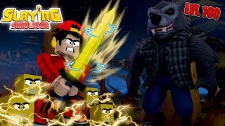 ROBLOX - *NEW* SLAYING SIMULATOR, DEFEATING THE LEVEL 100 BOSS!!
