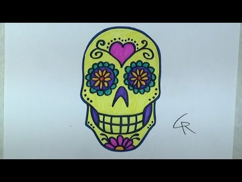 learn how to draw and color a sugar skull part 2 icanhazdraw youtube