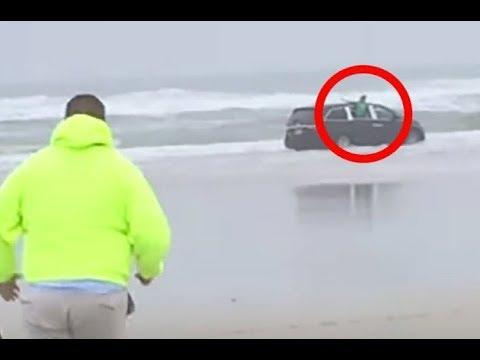 Внедорожник ехал прямо в океан. Внутри сидели дети, но когда мужчина заглянул в окно - остолбенел