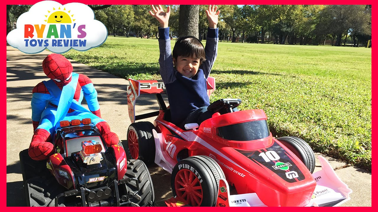 kid car racing power wheels playtime at the park giant rc monster truck spiderman egg surprise toys youtube