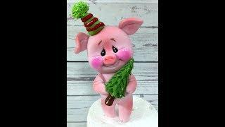 Поросенок из мастики ( Новогодняя свинка, хрюшка , свинюшка )/how to make a pig cake topper