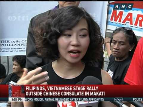 Filipinos, Vietnamese stage rally outside Chinese consulate in Makati