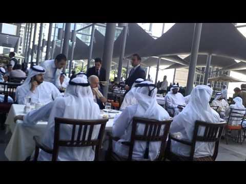 H.H. Sheikh Mohammed Bin Rashid Al Maktoum having lunch in DIFC, Dubai, UAE. 27.2.2013