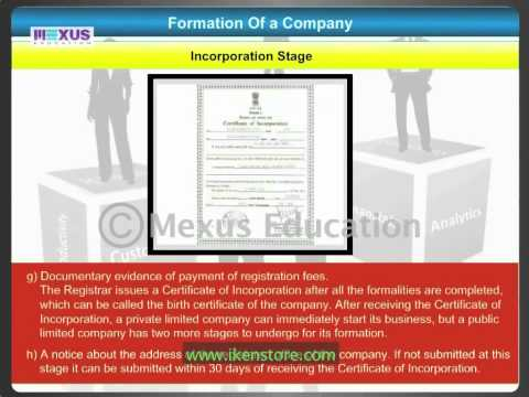 formation of a company The first stage in the formation of a company is promotion promotion is the discovery of business opportunity and organization of funds, property and ability in business for the purpose of making profit.