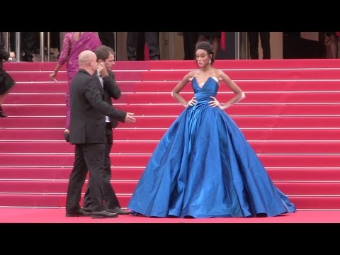 Model Winnie Harlow on the red carpet for the Premiere of Nelyubov in Cannes