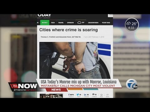 USA TODAY mixes up Monroe, Michigan with Monroe, Louisiana on list of cities where crime is soaring