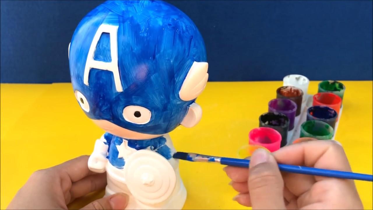 Đồ chơi trẻ em, tô tượng thạch cao siêu anh hùng Captain American – Coloring Super Hero (Chim Xinh)