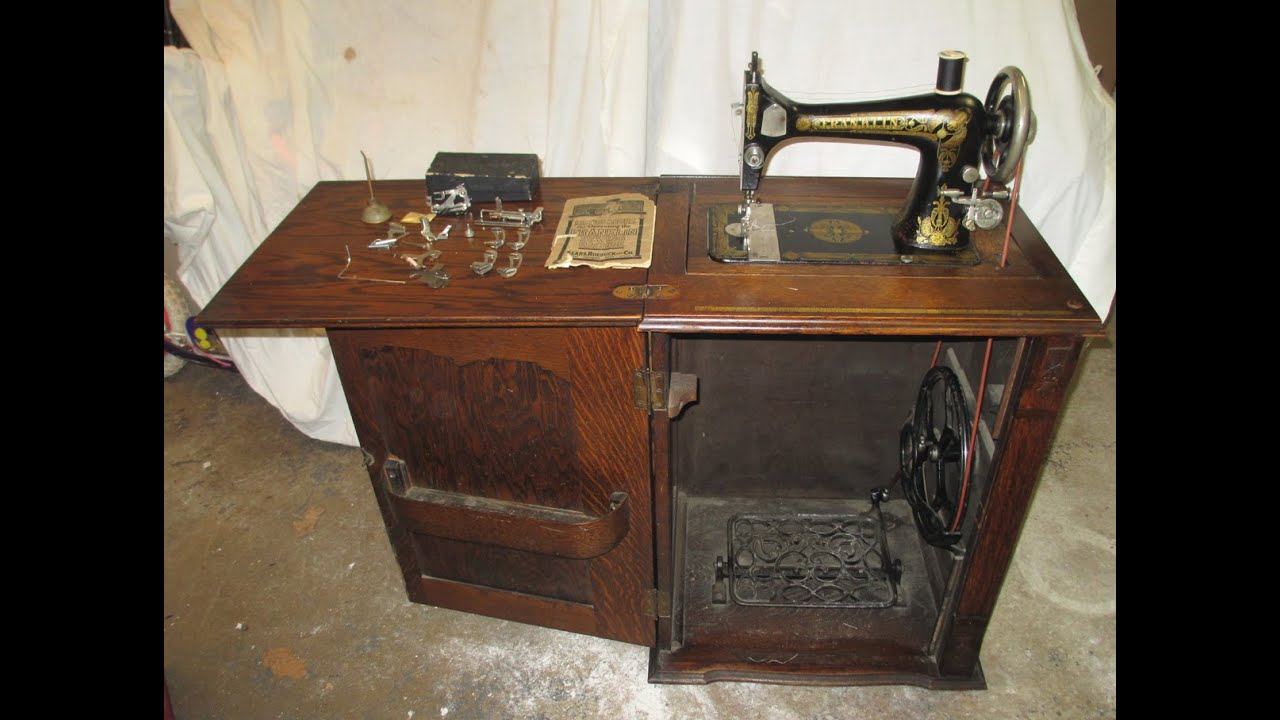 Complete Serviced Antique Sears Franklin Parlor Cabinet Treadle ...