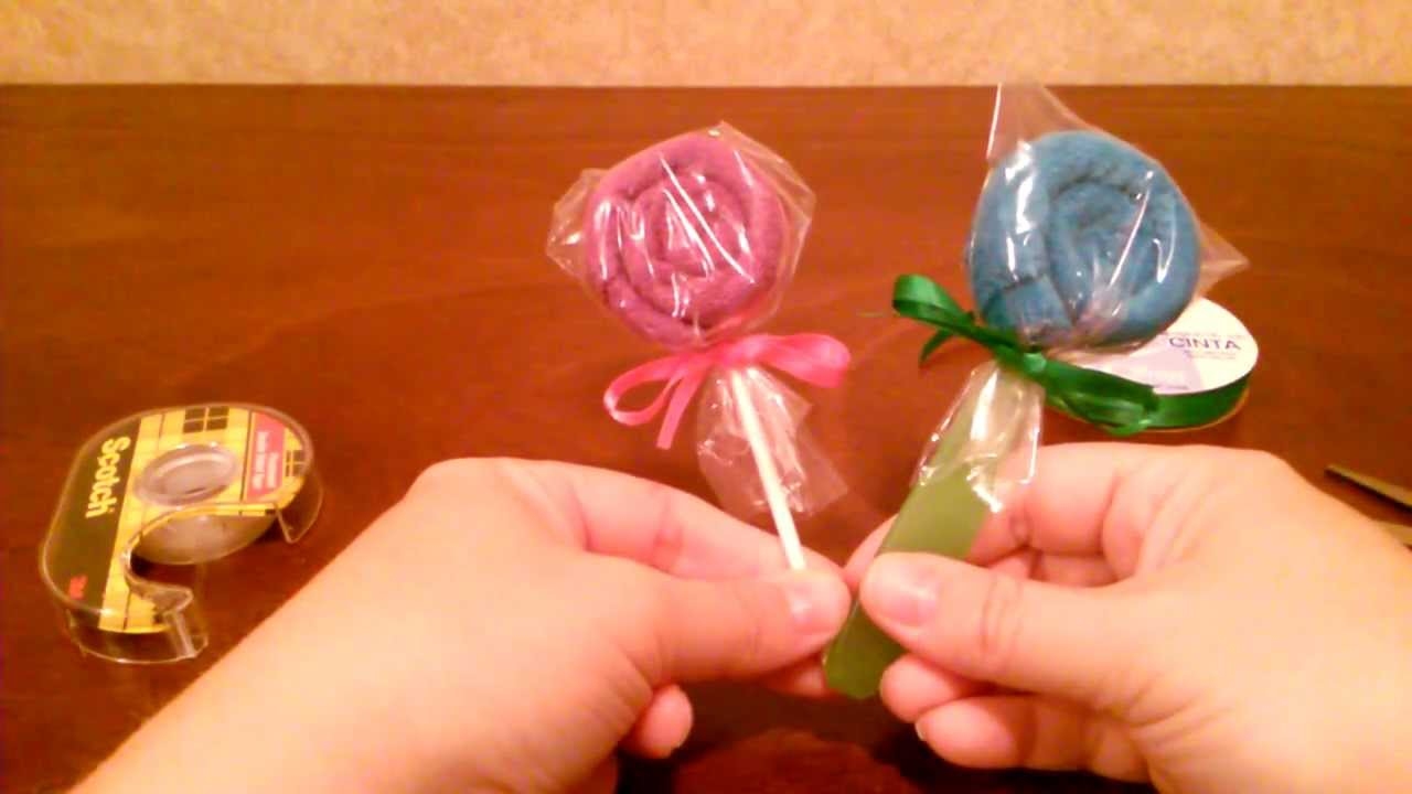 How To Make A Washcloth Lollipop Diy Tutorial By Shopbgdcom Youtube