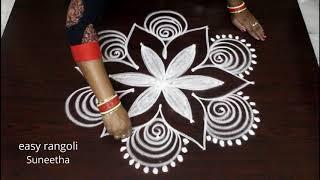 Bright rangoli kolam arts designs by Suneetha || easy n simple muggulu with dots