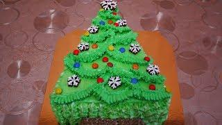 НОВОГОДНЯЯ ЁЛОЧКА без шаблонов, без специальных форм РОЖДЕСТВЕНСКИЙ торт с черносливом