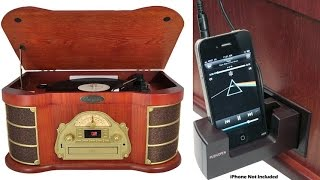 Pyle Home Vintage, Wood Crafted Turntable With Am-fm Radio, Cd Player, Cassette Deck, Ipod Dock