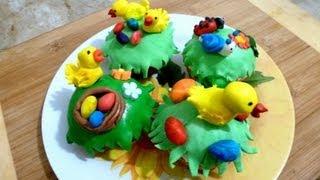 Пасхальные Украшения Кексов Сахарной Мастикой - Easter Cupcake Decoration With Fondant