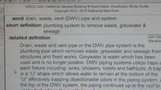 drain-waste-vent (DWV) pipe and system GCE42.com General Contractors B Building Exam Top Words