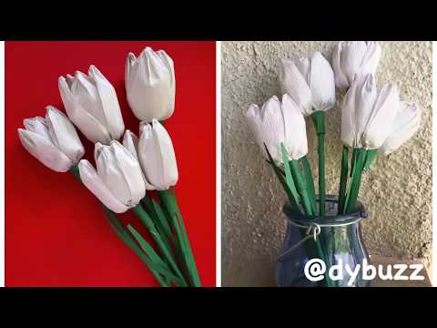DIY Tulip flowers |how to make crepe paper tulip flowers|at home