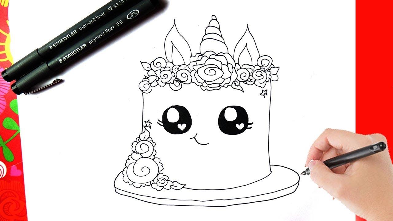 hoe teken je een eenhoorn taart kawaii leren tekenen
