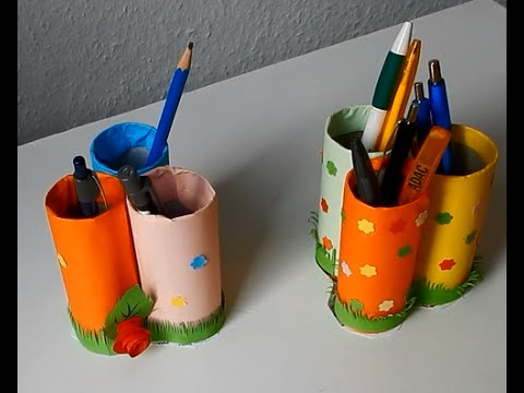 How to make Pen stand using Toilet paper roll - YouTube