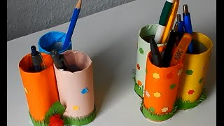 How to make Pen stand using Toilet paper roll
