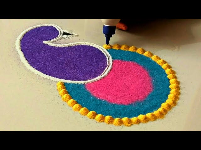 Beautiful small rangoli design for festivals   Easy rangoli by shalini