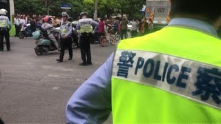 Police cordon off area after Shanghai building collapse