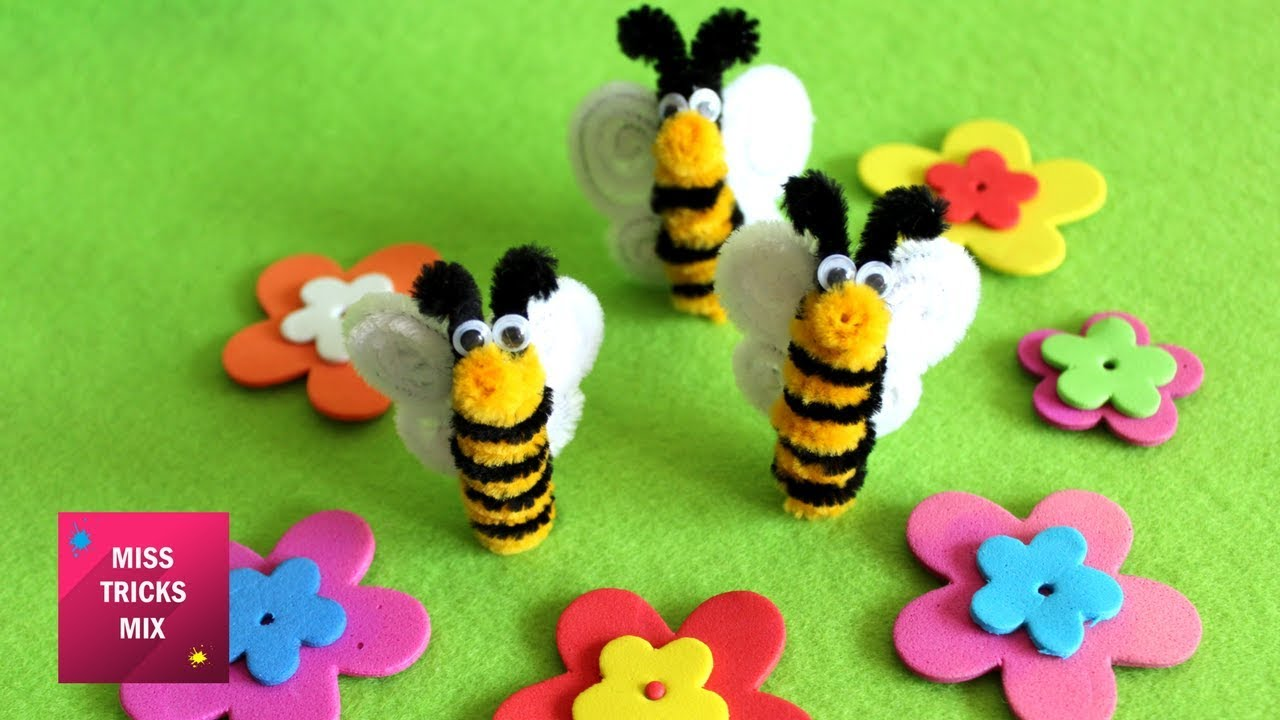 Pipe Cleaner Bee - DIY : How to make cute pipe cleaner bee ...