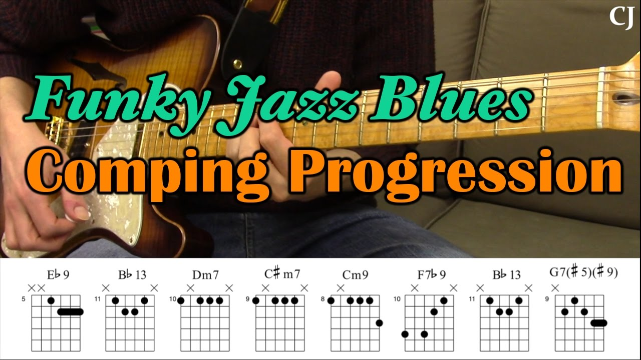 Funky Jazz Blues Comping Progression With Chord Boxes Guitar