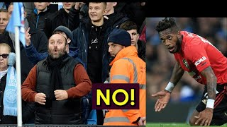 MAn City fan racist gestures towards Fred from MAn United