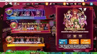 Harem-Heroes: 12 x Epic Pachinko + 11 x Mythic Pachinko = 4 Girls