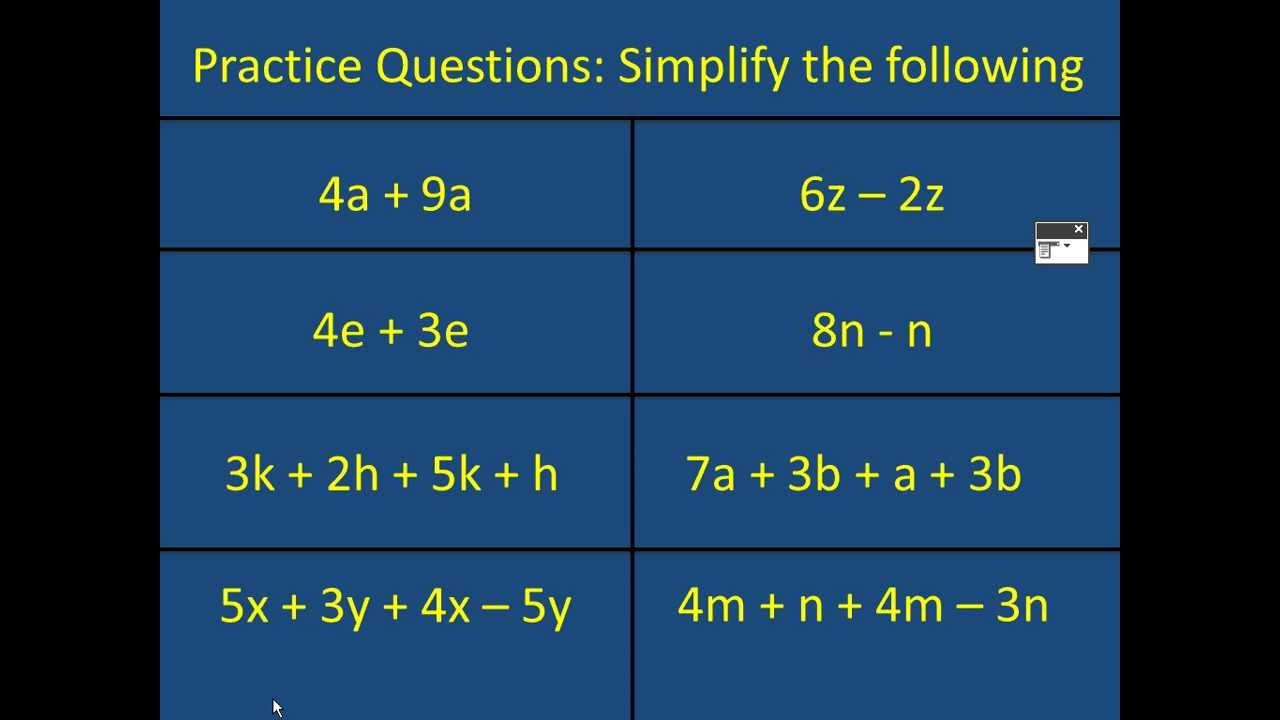 Basic Simplifying Algebra Mathscast - YouTube