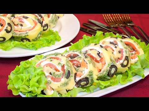 The appetizer on the festive table – roll with red fish