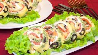 Закуска на праздничный стол – рулет с красной рыбой «Тигровый»