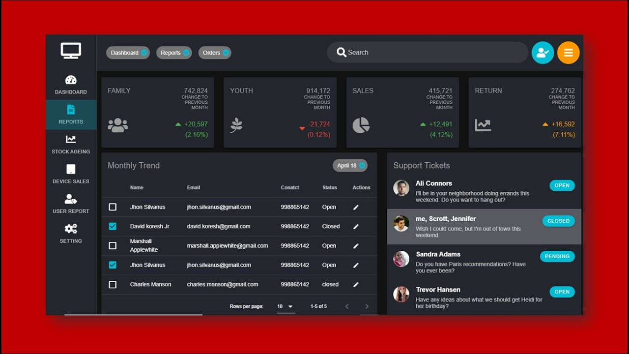 Vuejs - Vuetify UI Design, Sales Orders Modern Dark Design Dashboard