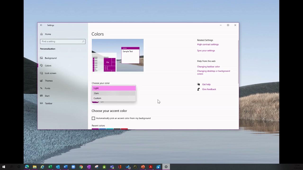Hvordan endre fargebakgrunn i Windows og Teams?