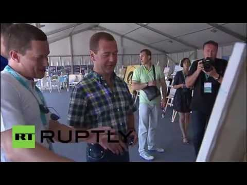 Russia: PM Medvedev visits creative youth forum in Crimea