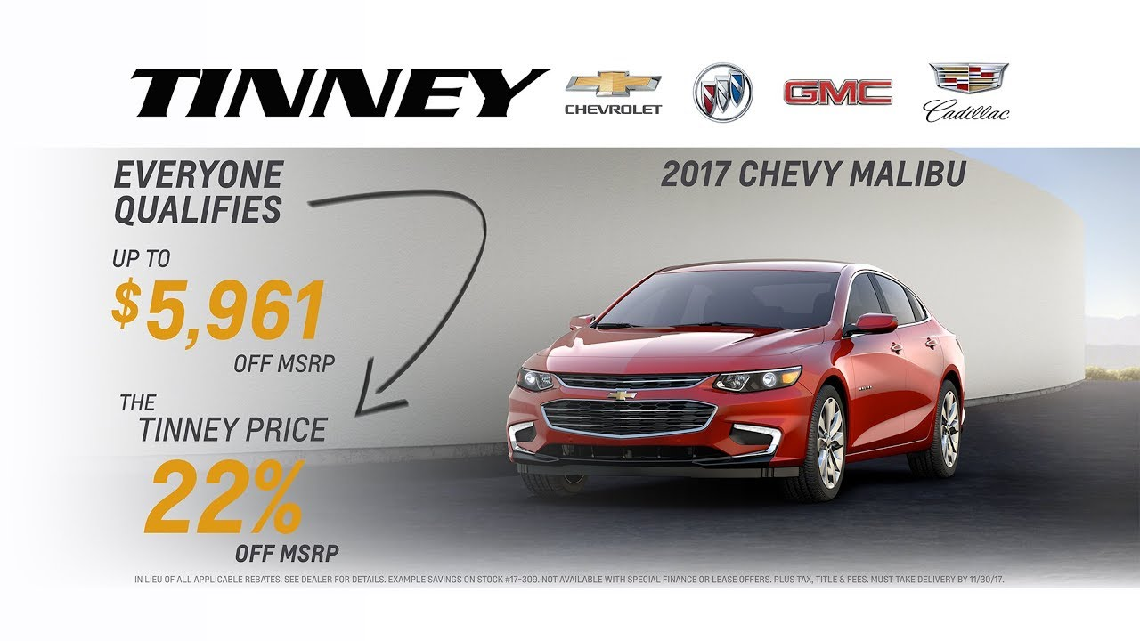 chevy closeout 22 off msrp on malibu tinney automotive greenville mi