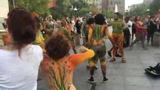 Repeat youtube video Over 100 Body Painted Naked People Dance In NYC Streets to Celebrate Body Acceptance