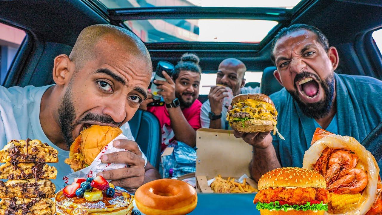 تحدي اكل يوم كامل في السيارة 🚙 Full Day Of Eating in The Car