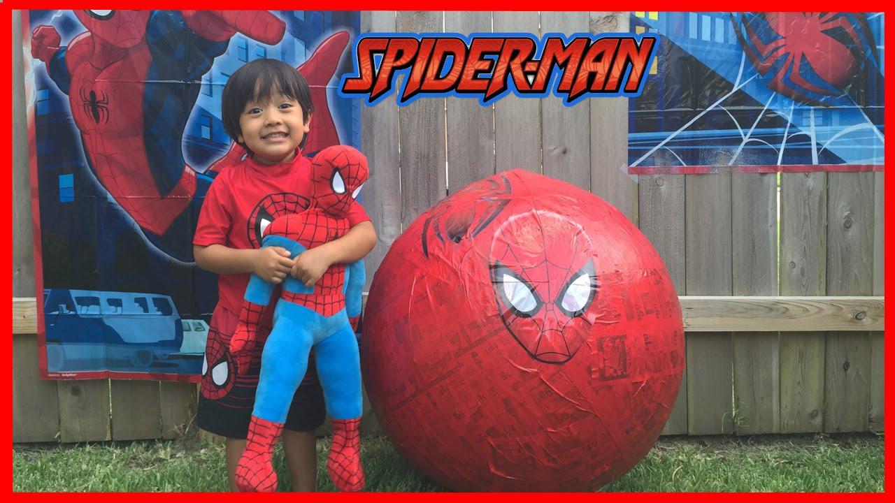 giant egg surprise opening spiderman marvel superhero toys kids