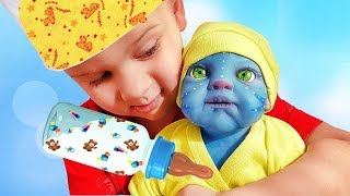Roma plays with an unusual Reborn Avatar Doll