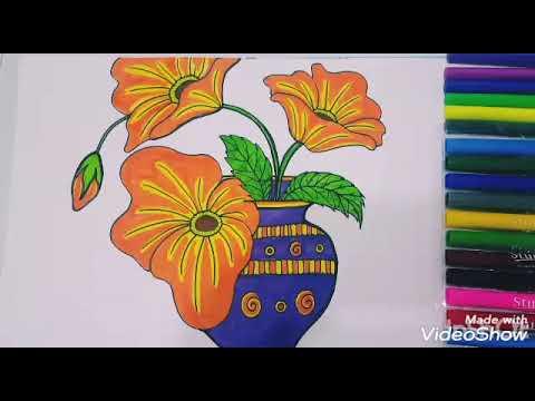 رسم مزهرية ورد Flower Vase Youtube