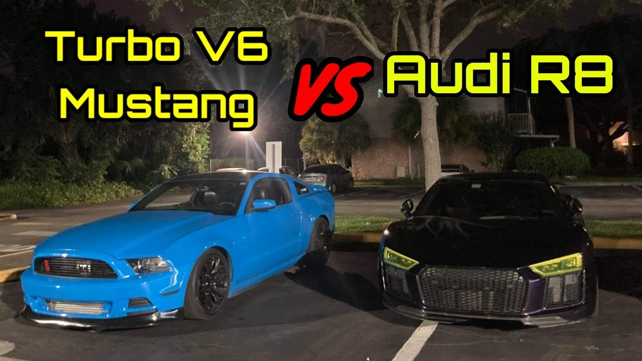 Audi R8 VS Turbo V6 Mustang!   Built VS Bought! V6 VS V10 Showdown!