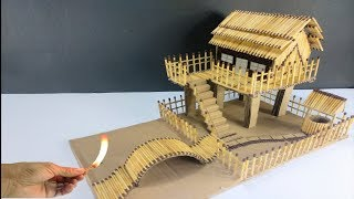 How to Make Match House Fire at Home - Match Stick House.