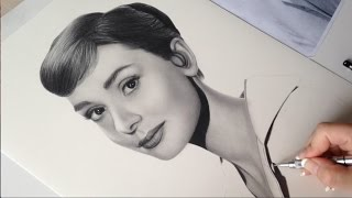 Drawing Audrey Hepburn in graphite