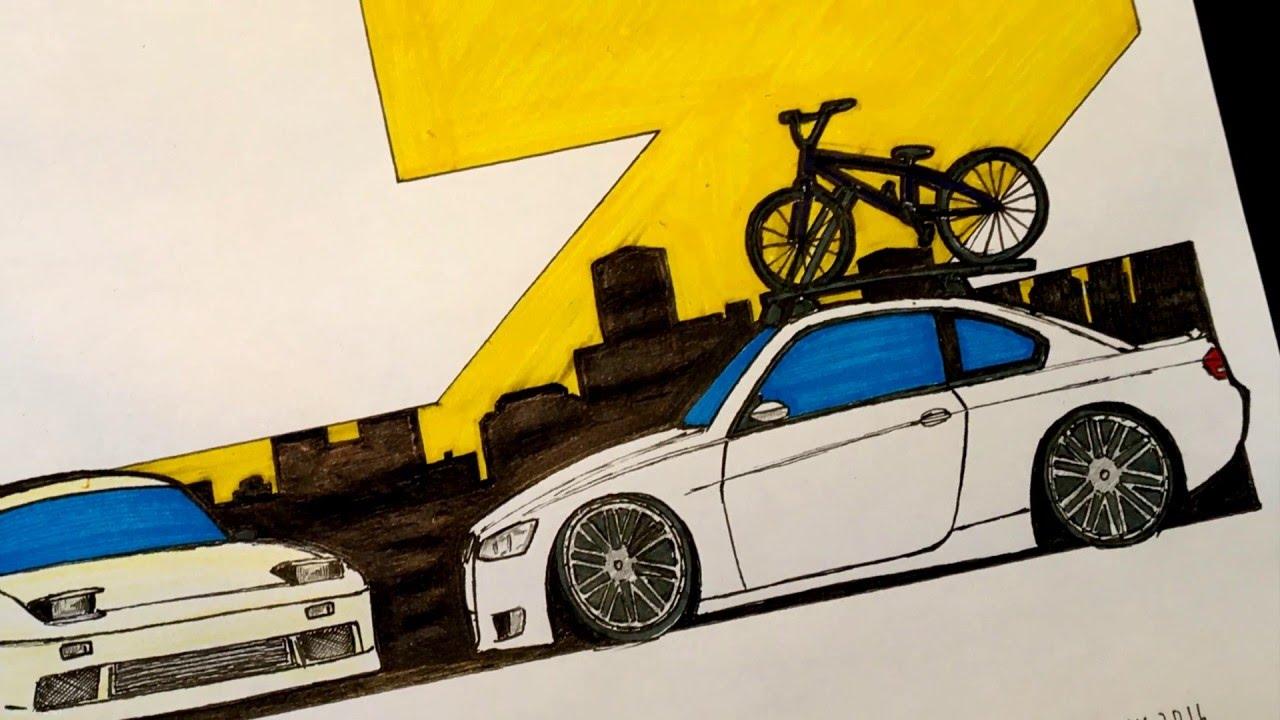 2017 Bmw 335i >> Speed Drawing: Adam LZ's Nissan 240SX & BMW 335i - YouTube