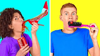 REAL FOOD VS WEIRD UTENSILS || Last To Stop Eating Wins! Eating Only Wrong By 123 GO! CHALLENGE