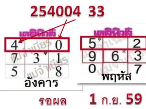 หวยเดลินิวส์ 1/9/59 มาแล้ว lotto thai land lottery