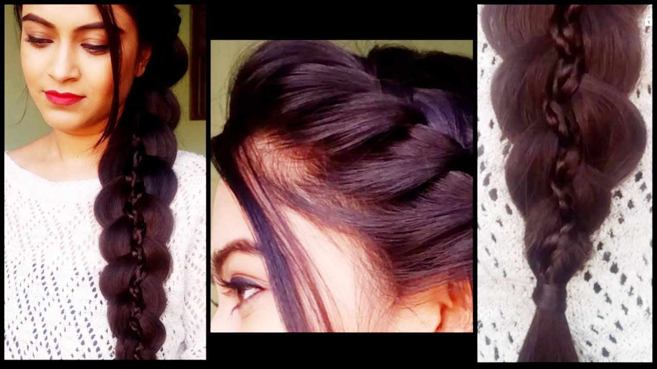 Braided 5 Strand Braid   Hairstyles For Medium/long Hair... Prom/party  Indian Hairstyles   YouTube